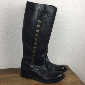Steve Madden P- Symon Black Leather Upper Boots 9